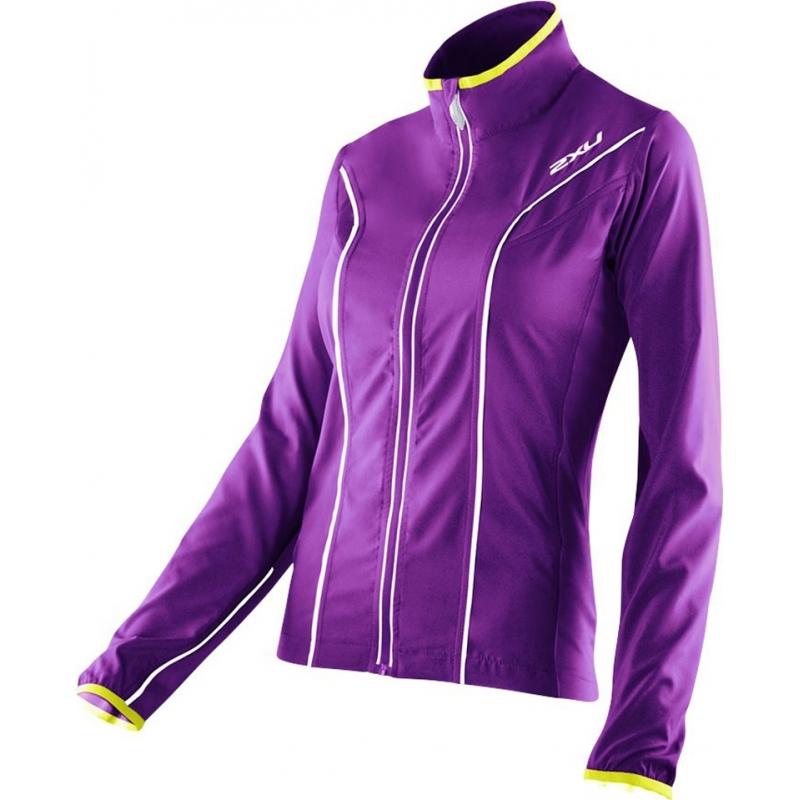 2XU WR2161A-PLQ-EYW-XS Ladies Elite Purple Lacquer and Excel Yellow Run Jacket - Size XS