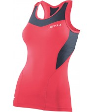 2XU WA2268A-TGN-GRY-M Ladies PWX Tangerine and Grey Compression Tank - Size M
