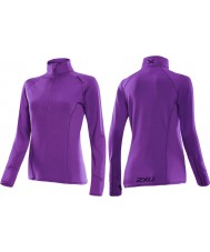 2XU WR2526A-PLQ-M Ladies Purple Lacquer Micro Thermal Top - Size M