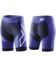 2XU WT2322B-NVY-NTB-L Ladies Navy and Northern Lights Blue Compression Tri Shorts - Size L
