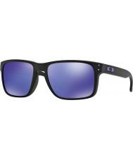 Oakley OO9102-26 Holbrook Julian Wilson Matte Black - Violet Iridium Sunglasses
