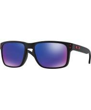 Oakley OO9102-36 Holbrook Matte Black - Red Iridium Sunglasses