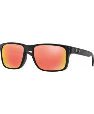 Oakley OO9102-51 Holbrook Matte Black - Ruby Iridium Polarized Sunglasses