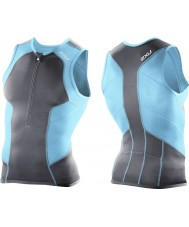 2XU MT2850A-CHC-LB-S Mens Charcoal and Light Blue Performance Tri Singlet - Size S