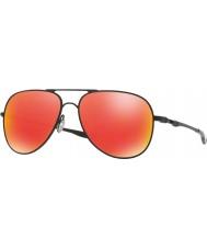 Oakley OO4119-04 Elmont M and L Satin Black - Ruby Iridium Sunglasses