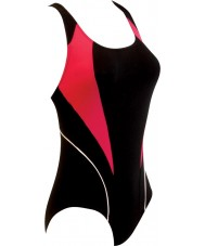Zoggs 59612536 Ladies Noosa Flyback Black and Pink Swimming Costume - Size 36