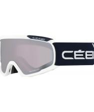 Cebe CBG92 Fanatic L White and Blue - Light Rose Flash Mirror Ski Goggles