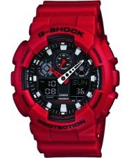 Casio GA-100B-4AER Mens G-Shock World Time Red Resin Strap Watch