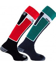 Salomon 369251-REDGRN-S Elios Red and Green Socks 2 Pack - Size S (UK 3.5-5)
