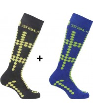 Salomon 355971-BLAYELGRN-XS Kids Team Junior Black and Yellow Socks 2 Pack - Size XS (UK 6.5-9)