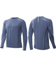 2XU MR2610A-BST-XL Mens Blue Stone Cruize Long Sleeve Top - Size XL