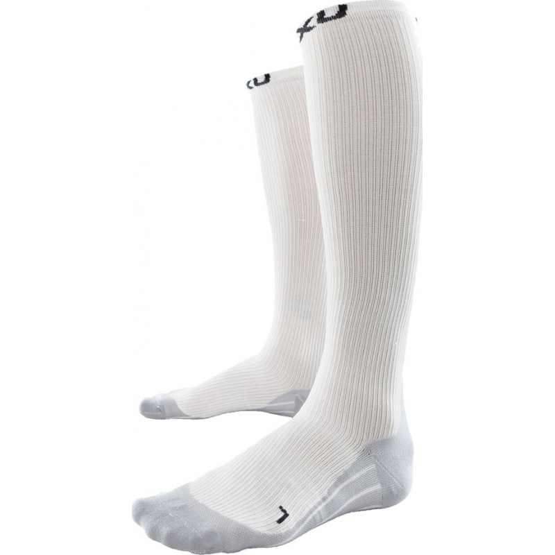 2XU WA1958E-WHT-GRY-M Ladies PWX White Race Compression Socks - Size M