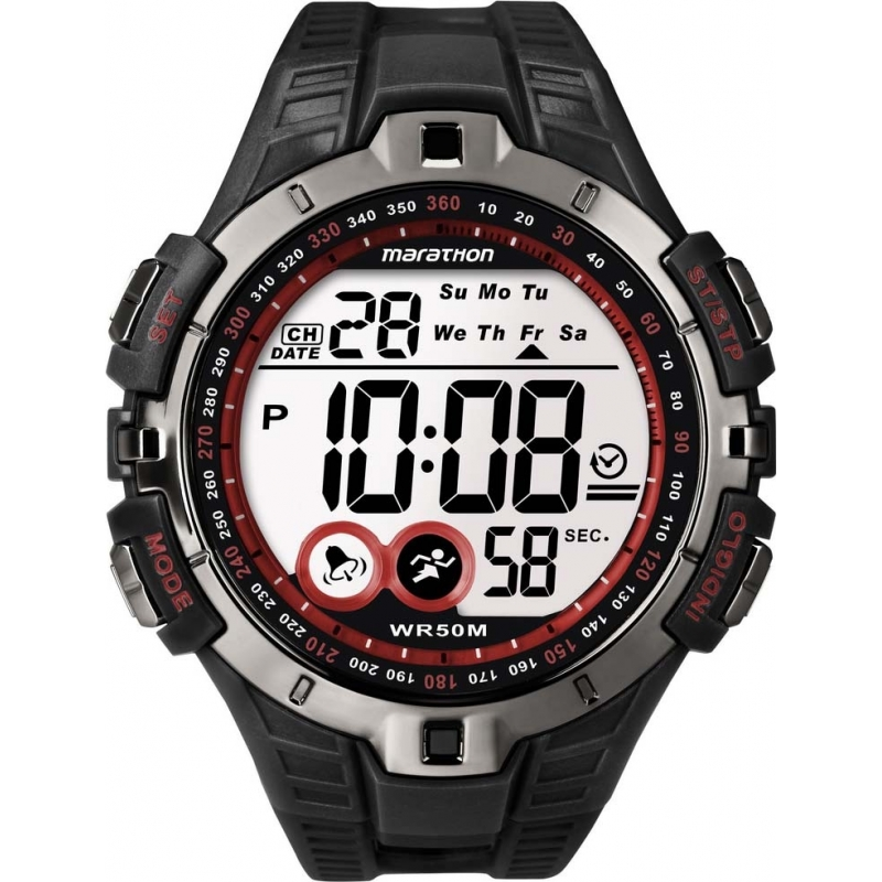 a90b5fe6ea16 Timex T5K423 Para hombre reloj deportivo de color rojo maratón negro